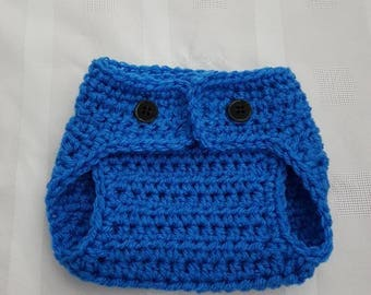 Crocheted Newborn Baby Boy Girl Photo Prop Diaper Cover Baby Shower Royal Blue