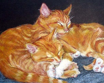 Custom Pet Portrait Drawing, Cats in Colored Pencil Gift Certificate or Commission