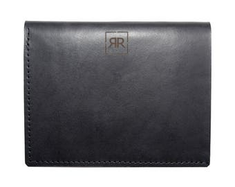 Black Genuine Leather Handmade Billfold Wallet With Coin Pocket