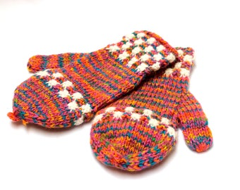 SALE 15% OFF* Hand Knitted Colorful Alpaca wool Gloves, Convertible Mittens, Fingerless Gloves, Light and Warm