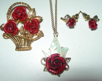 Red roses brooch ,pendant, earrings, mother of pearl, shell, hand carved, signed, vintage, romantic