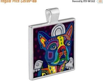 SALE ENDING- Boston Terrier Angel Dog Folk Art Jewelry - Pendant Metal  Gift Art Heather Galler Gift - Pet Lovers Modern Abstract Memorial