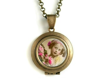 Flower Girl Antique Photo Locket Pendant | Victorian Picture Necklace | Vintage Style Jewelry