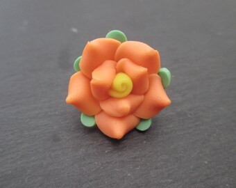 Fimo flowers orange yellow heart 20 mm in packs of 4