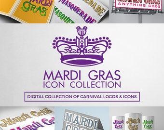 Mardi Gras Carnival Icon & Logo Collection Layered Photoshop Files