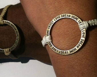 Matching Circle of Love Conversation Bracelets His and Hers Bracelets Couples Bracelets You Choose Color