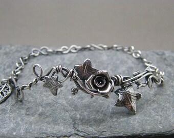 Sterling silver leaf bracelet ~ Ivy leaves ~ Rose bracelet ~ Ivy leaf jewelry ~ Silver leaf bracelet ~ Woodland bracelet ~ Unusual gift ~