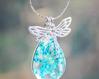 Real Flower Pendant Necklace Silver Dragonfly Charm Blue Teardrop Gift for Gardener Gift Nature Pendant Graduation Gift Bridesmaid Teacher