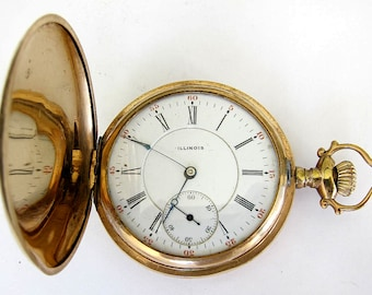 Antique 14K  Goldfill Illinois Pocket Watch S16,15J,Hunter Case,Sev'd & Run !