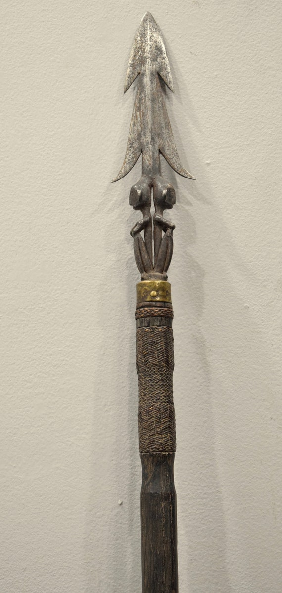 """Philippines Spear Iron Wood Ifugao Bulul Ceremonial Spear 64.5"""""""