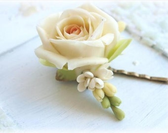Ivory Rose Bobby Pin, Hair Pin, Flower Hair Accessories, Wedding Jewelry, Bridal Accessories