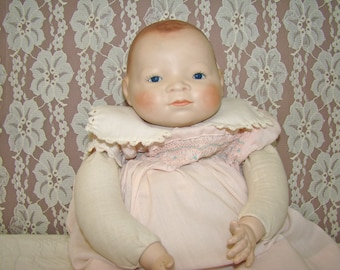 """Bye Lo Baby Grace Putnam. 20"""" Antique Doll. Bisque Head and Hands. Sawdust Stuffed. Blue Eyes. Frog Body."""