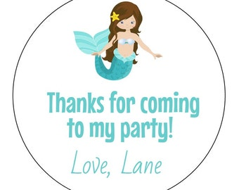 12 Mermaid Stickers, Brunette Mermaid Labels, Pink, Mermaid, Thank You Labels, Mermaid Birthday, Goodie Bag Labels, First Birthday, Mermaid