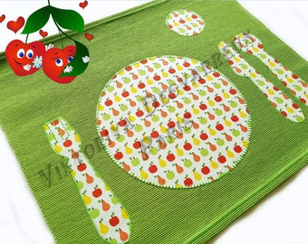 Personalized Kids Placemat for Girl, Montessori Practical, Place setting, Preschool Table Setting, Place mat, Table Mats, Toddler Placemat