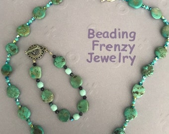 Hand Beaded Necklace and matching Bracelet