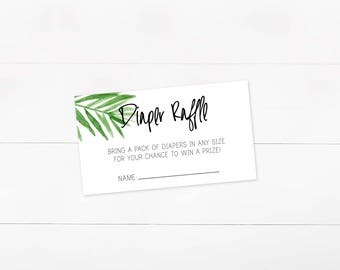 Diaper Raffle, Tropical, Palm Leaf, Digital Download, Baby Shower Raffle, INSTANT DOWNLOAD, Raffle ticket