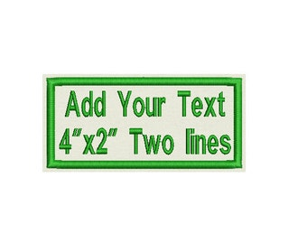"""Custom Embroidered Patch - Add your Text - Personalize it! - Sew on or Iron On 4"""" x 2"""""""