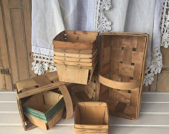 6 Vintage Quart Berry Boxes, 6 Pint Berry Boxes, 2 Berry Baskets, Wood, Instant Collection, Cottage Style, Farmhouse, Rustic, Home Decor