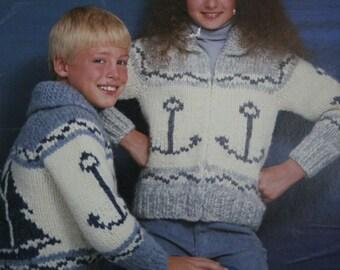Jacket Knitting Pattern Sailboat Nautical Children Size 10 - 14 White Buffalo 6603 Sweater Cardigan Bulky Weight Yarn Boy Girl, NOT a PDF