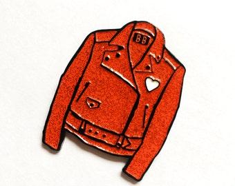 Red Glitter Leather Jacket Enamel Pin