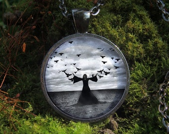 Glow in the dark / Girl in Black / Woman and Crows / Flying Birds / Sky and Earth / Glow necklace/ Glowing pendant / Girl in black dress