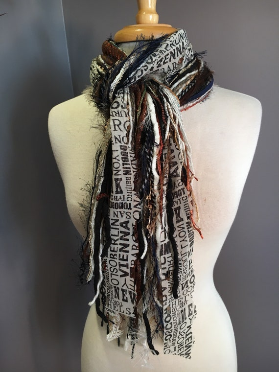Fringe art scarf, World Traveler, cream taupe navy scarf, city print, Handmade Boho Scarf, travel gift, newsprint scarf, art yarn scar
