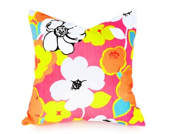 Bright Pillows, Bright Throw Pillows, Bright Floral Pillows, Spring Pillow Covers, Pink Yellow White Turquoise, Zipper, Washable, 18x18