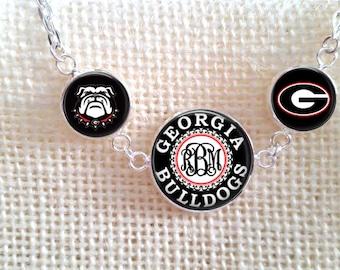 Monogram Necklace,UGA Necklace, Monogram UGA Necklace, Silver Monogram Necklace, Gift for Her, Georgia Bulldog Jewelry