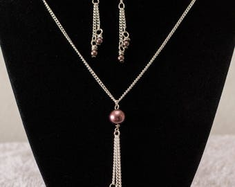 21 'inch Antique silver chain  set with three length of brown shade pearl drops