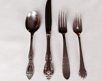 Vintage Mismatched Fancy Stainless Flatware Set Dinner for 12 52 pc silverware/ 4 piece place settings & serving utensils