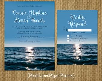 Romantic Beach Wedding Invitation,Sunset,Destination Wedding,Hawaii Wedding,Tropical Wedding,Custom,Printed Invitation,Wedding Set,Envelopes