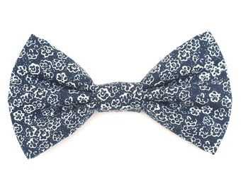 The Kimball Bow Tie — Dog Bowtie, Brooklyn Bowtied, Denim, Blue, Floral, Chambray, Wedding, Ring Bearer, Dog of Honor, Matching Dog Owner