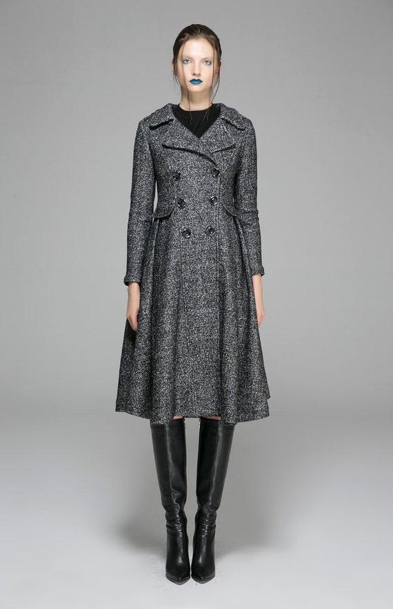 1373 Swing coat coat breasted flare dress fit coat double Coat outfits Womens wool coat winter coat and Winter coat Grey Jacket wffn1xR