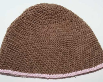 Brown Hat with Pink Trim - CLEARANCE