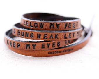 Hand stamped wrap leather bracelet Keep the earth below my feet  Mumford and Sons Lyric