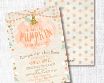 Pumpkin Baby Shower Invitation, Printable, Fall Shower Invite, Gender Neutral, Rustic, Orange and Gold Confetti, Sprinkle, Open House