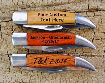 """ONE CUSTOM ENGRAVED Pocket Knife - Wooden Handle - (Choose Wood Type) - Groomsmen Gift - Father's Day Gift -Hunting-""""Texas Toothpick"""" folder"""