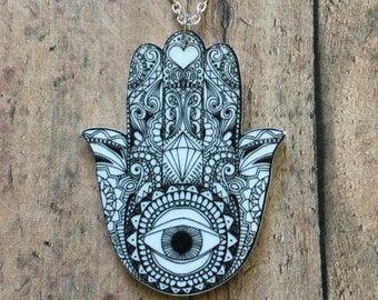 Hamsa sketch necklace