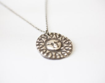 silver sun necklace - celestial necklace handmade jewellery fashion necklace silver necklace sun jewelry gift for women sun charm necklace