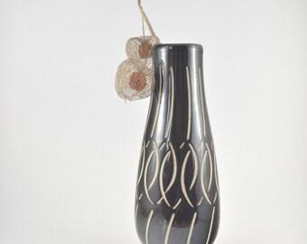 Piesche & Reif Vase, Vintage Sgraffito Vase, Spiral Scraffito Ceramics, Mid Century East German Pottery Vase, Dark Brown Glazed Vase