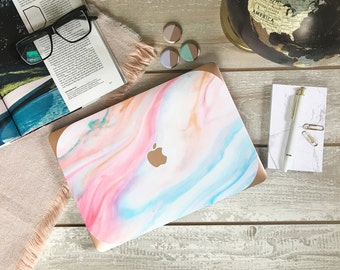 Pastel Marble Macbook Hard Case and Rose Gold Edging - Apple Macbook Air / Macbook Pro Retina / Macbook Pro Touch - New College Edition