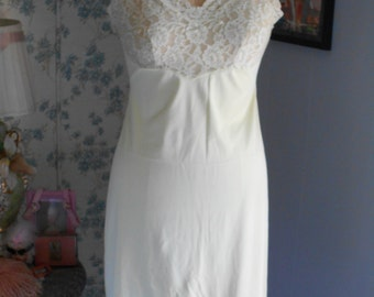 1960's Pale Yellow Slip with Lace