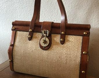 Vintage John Romain Leather & Tweed Handbag Purse