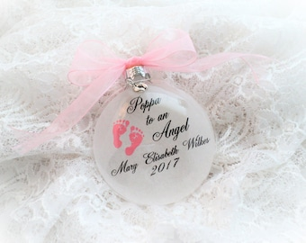 Miscarriage Memorial Christmas Ornament, Poppa to an Angel, Free Personalization and charm