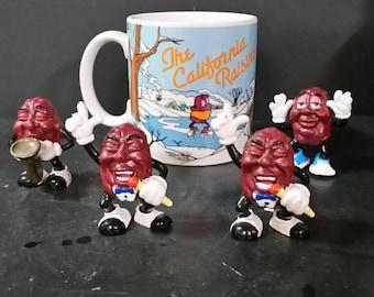 Vintage California Raisin mug and figurines