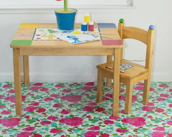 "Splat Mat/Tablecloth ""Sky Bougquet"" - Laminated Cotton BPA  & PVC Free - Choose Your Size below!"