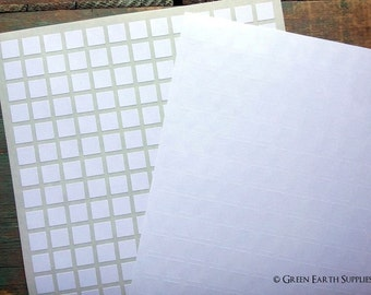 "CLEARANCE: 1105 Recycled White Mini Square Stickers, 0.5"" (12.7mm) mini square labels, blank planner stickers (5 sheets)"