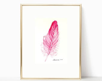 Feather ORIGINAL Watercolor Painting Feather Pink painting Feather Art 5X7 Nursery Pink Decor