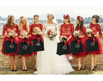monogrammed Bridesmaid tote bags , bridesmaid gifts , tote bag , beach bag , bachelorette party gift ,wedding bag , wedding tote bags