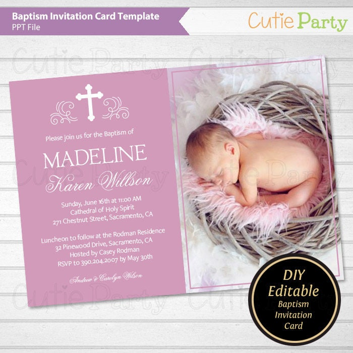 Bautizo foto tarjeta invitación bautizo imprimible púrpura